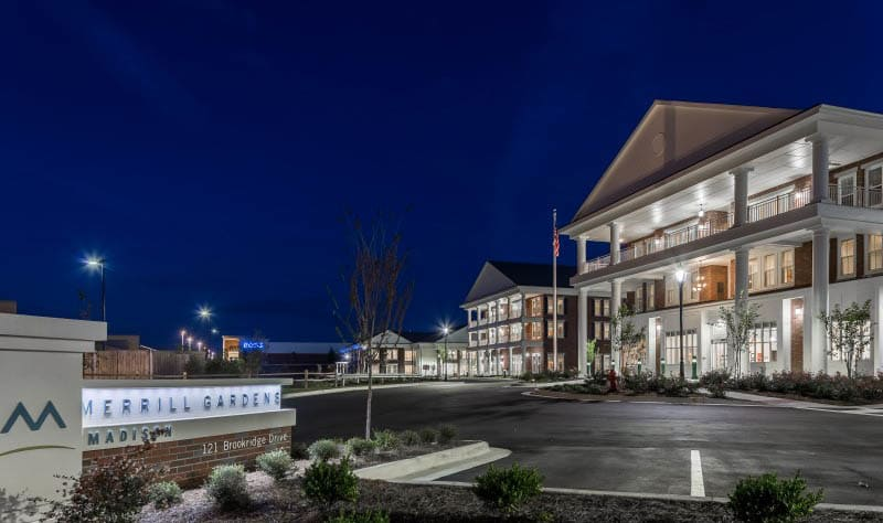 Exterior at night at senior living in Madison, AL