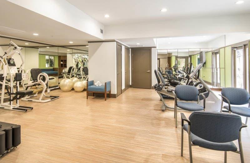 Fitness center at San Diego senior living