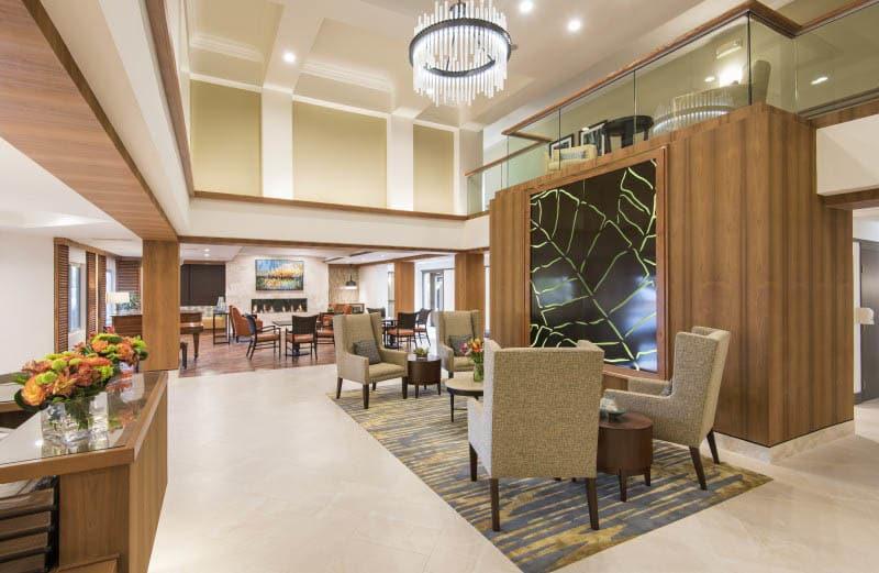 Spacious lobby at San Diego senior living
