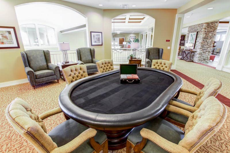Card table at The Groves, A Merrill Gardens Community in Goodyear, Arizona.