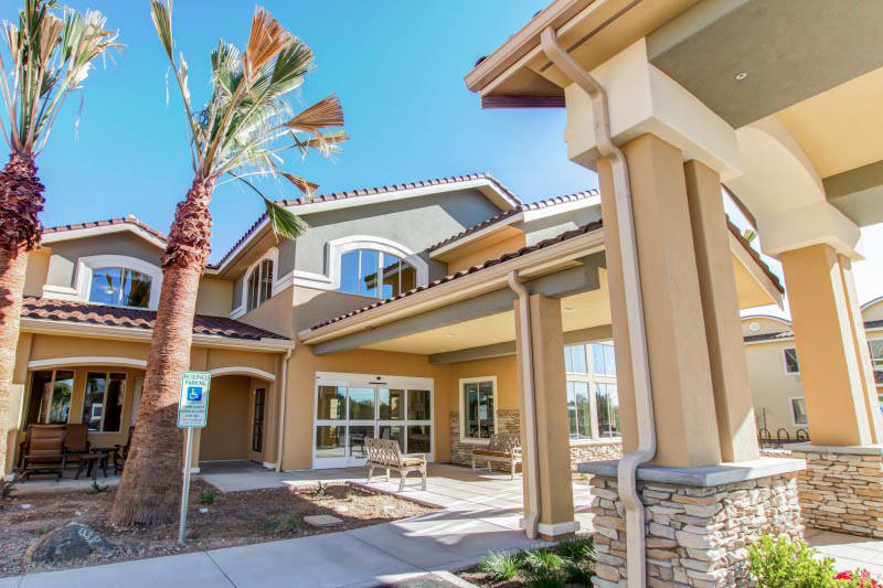 Exterior views of The Groves, A Merrill Gardens Community in Goodyear, Arizona.