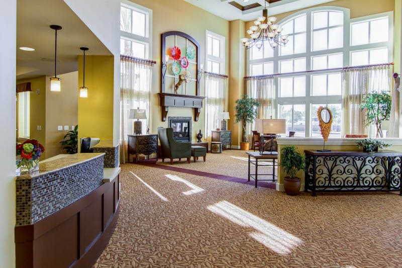 A spacious lobby at The Groves, A Merrill Gardens Community in Goodyear, Arizona.