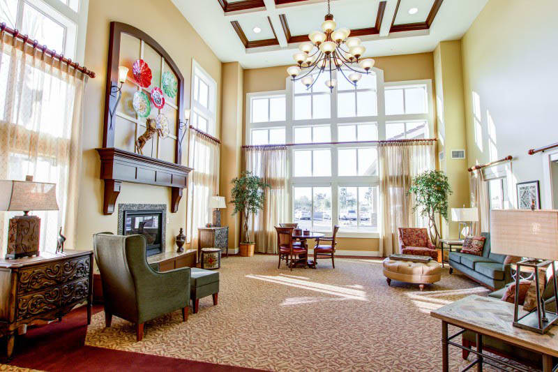 The lobby at The Groves, A Merrill Gardens Community in Goodyear, Arizona.