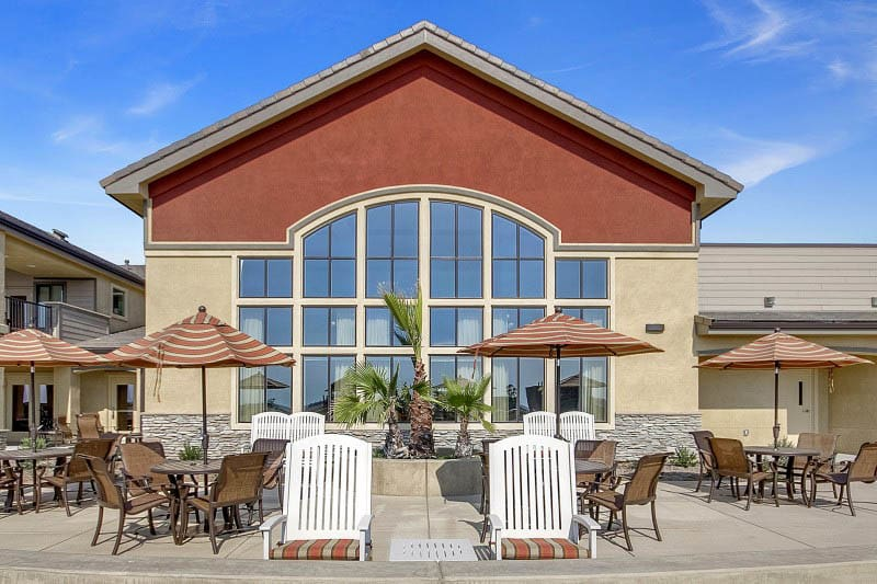 Patio at senior living in Rocklin, CA