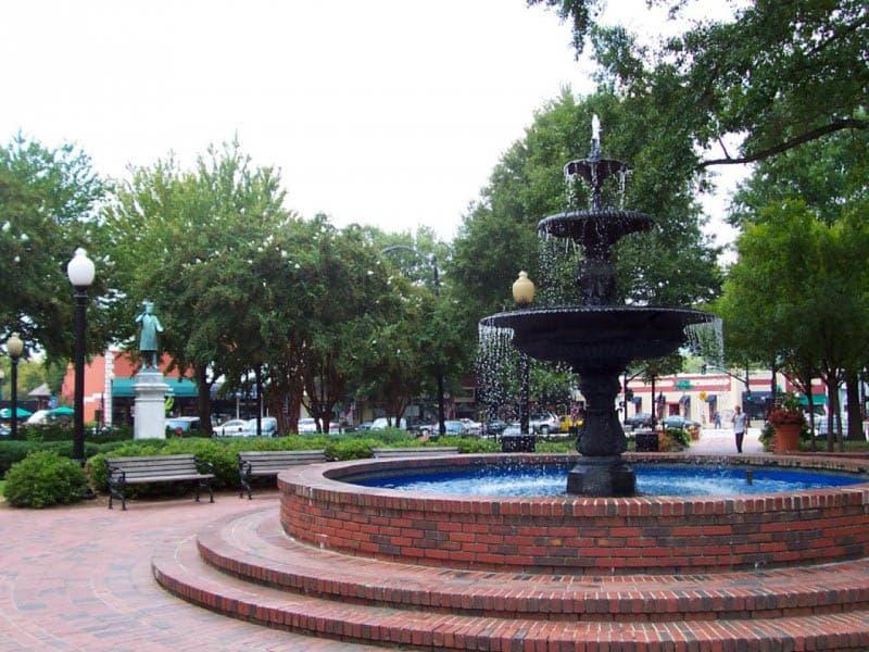 Fountain in neighborhood of senior living in Woodstock