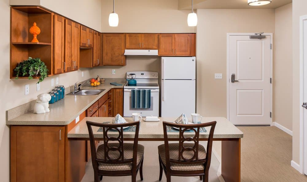 Bright and Spacious Kitchen at Apartments in Woodstock senior living