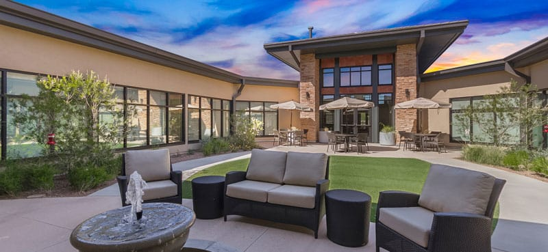 Sunny patio at our senior living community in Anthem, AZ