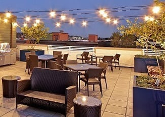Rooftop lounge at senior living in Seattle
