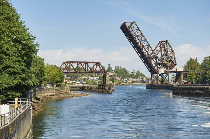 A bridge near Merrill Gardens at Ballard is in Seattle, Washington.