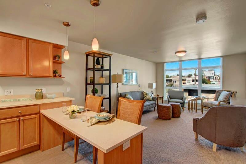 Resident apartment at Merrill Gardens at Ballard in Seattle, Washington.