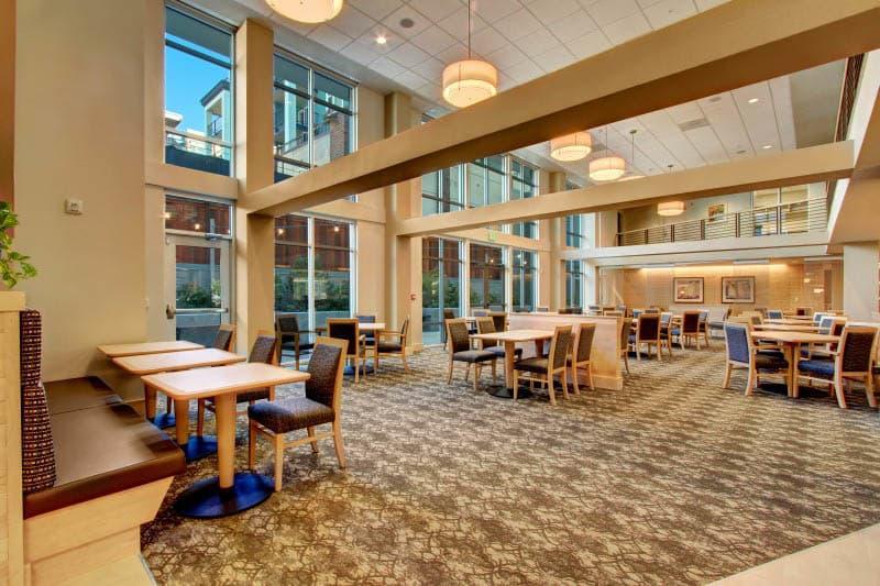 Dining hall at Merrill Gardens at Ballard in Seattle, Washington.