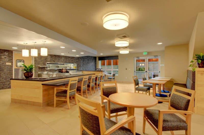 Community dining room at Merrill Gardens at Ballard in Seattle, Washington.