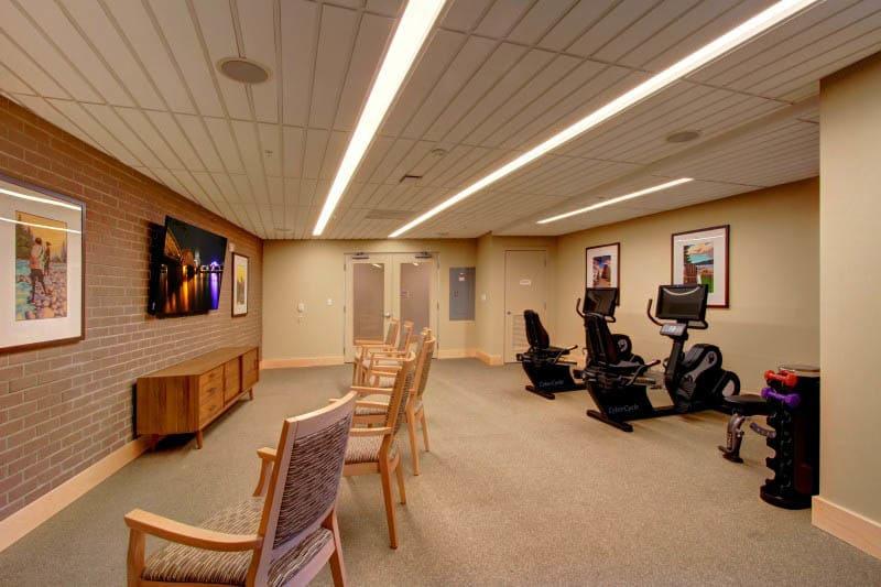 Fitness center at Merrill Gardens at Ballard in Seattle, Washington.