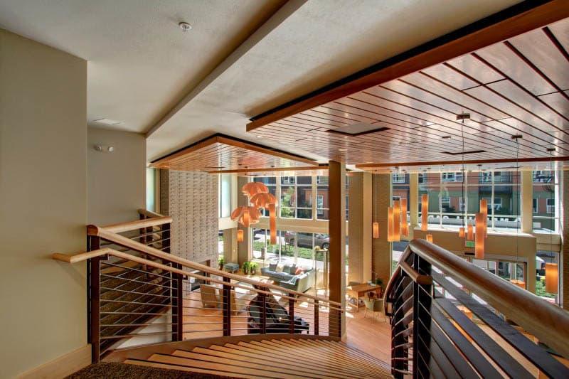 Lobby staircase at Merrill Gardens at Ballard in Seattle, Washington.