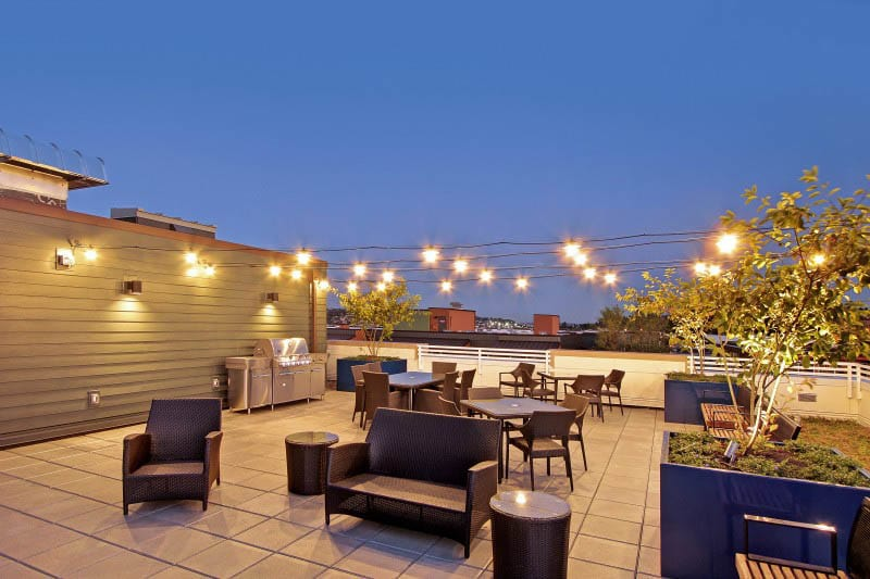Rooftop lounge at Merrill Gardens at Ballard in Seattle, Washington.