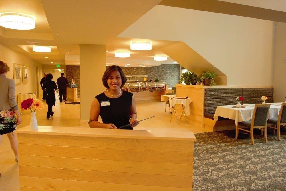 Front desk and lobby at Merrill Gardens at Ballard in Seattle, Washington