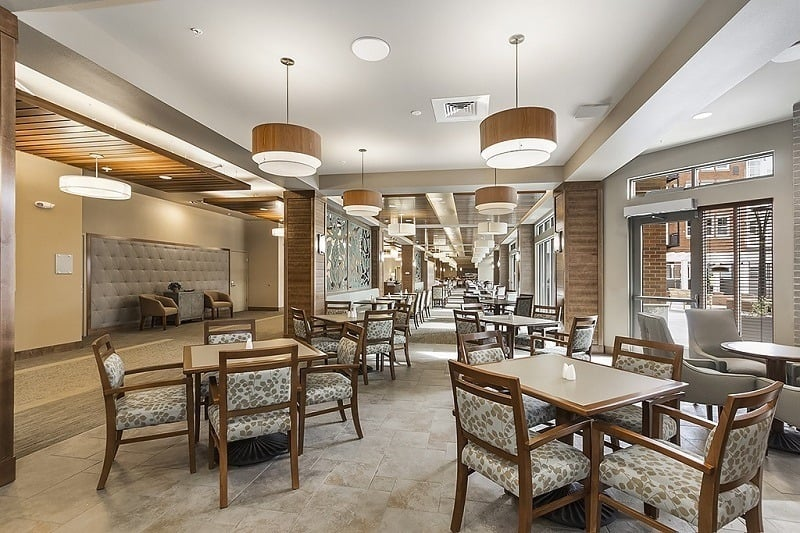 Dining area at our senior living community in Burien, WA