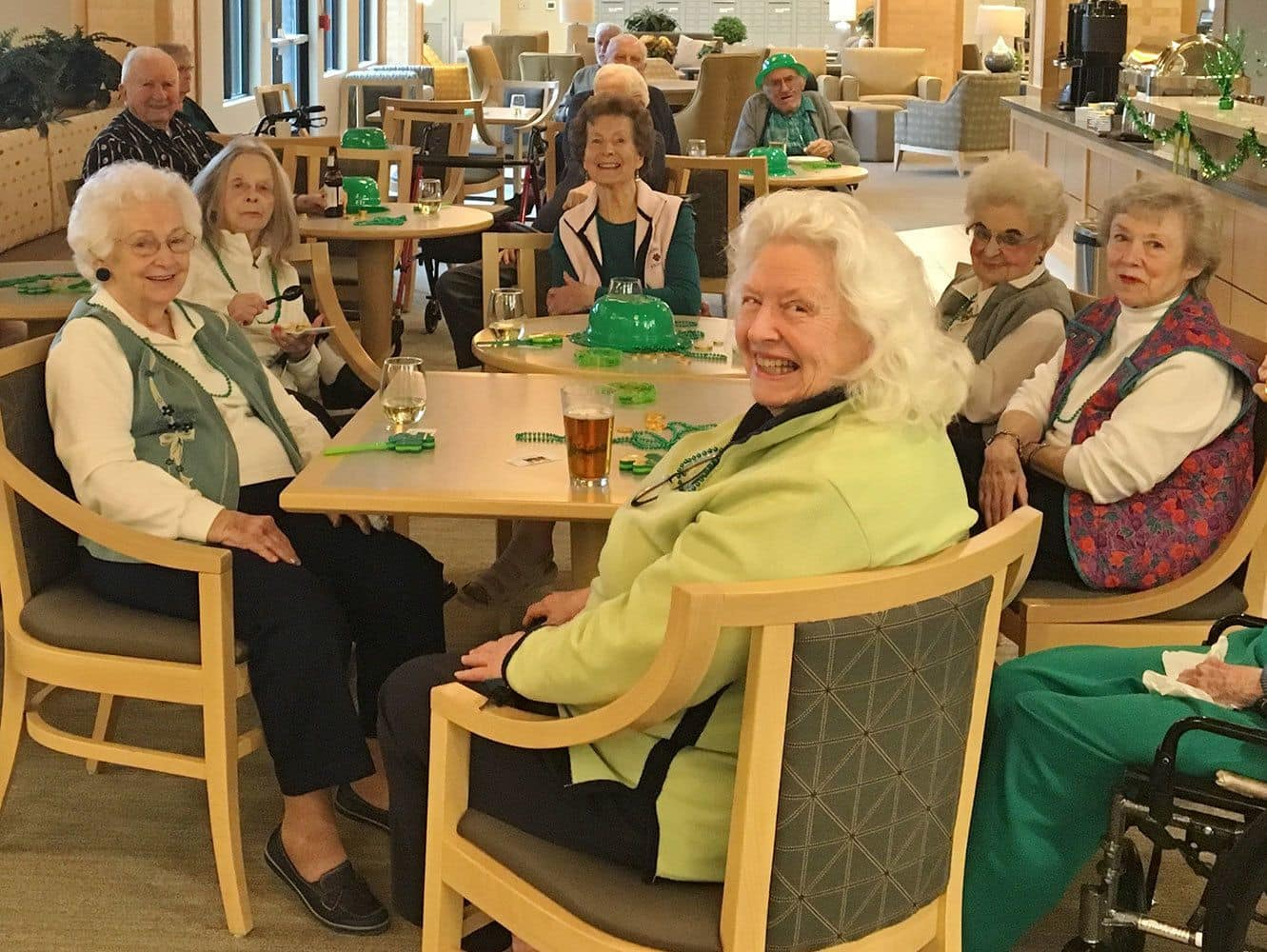 Ladies enjoying St. Patrick's Day together at our senior living community in Auburn, WA