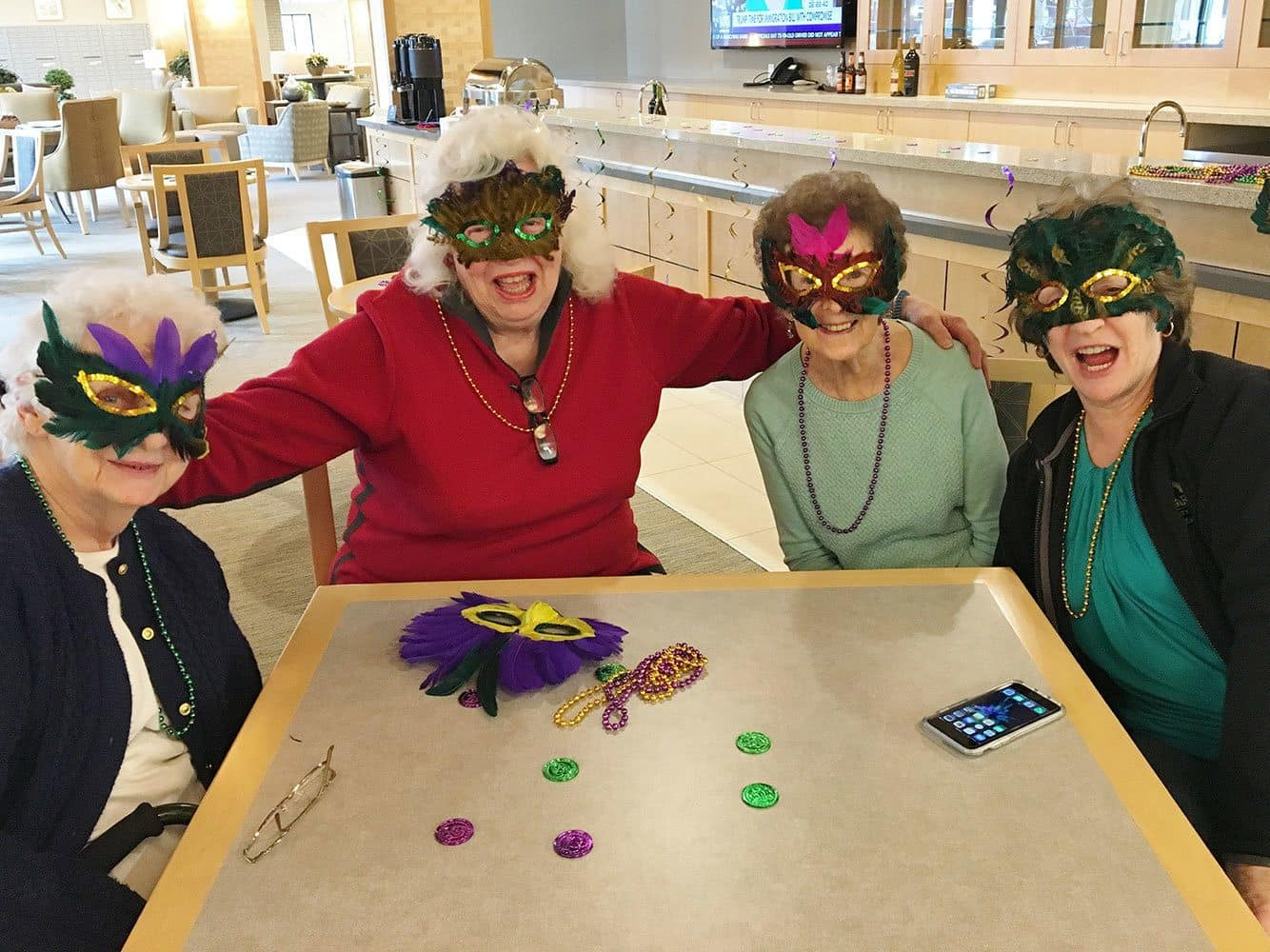 Mask party at our senior living community in Auburn, WA