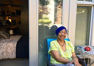 Happy resident at  senior living in Oakland