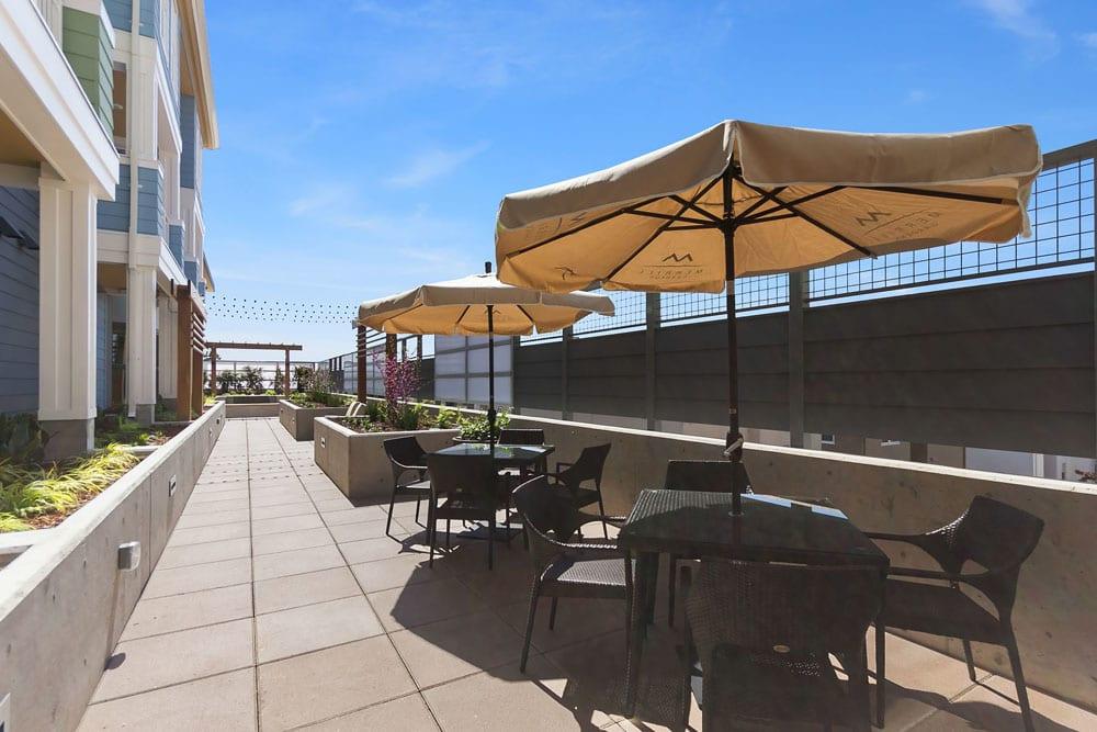 Resident patio at Merrill Gardens at Rockridge in Oakland, California.