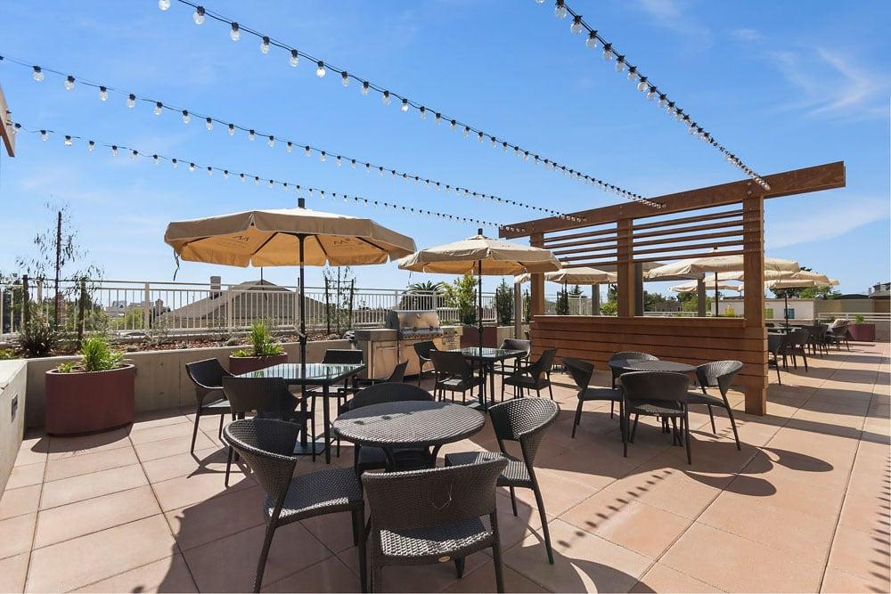 Outdoor Patio & BBQ area at Merrill Gardens at Rockridge in Oakland, California.