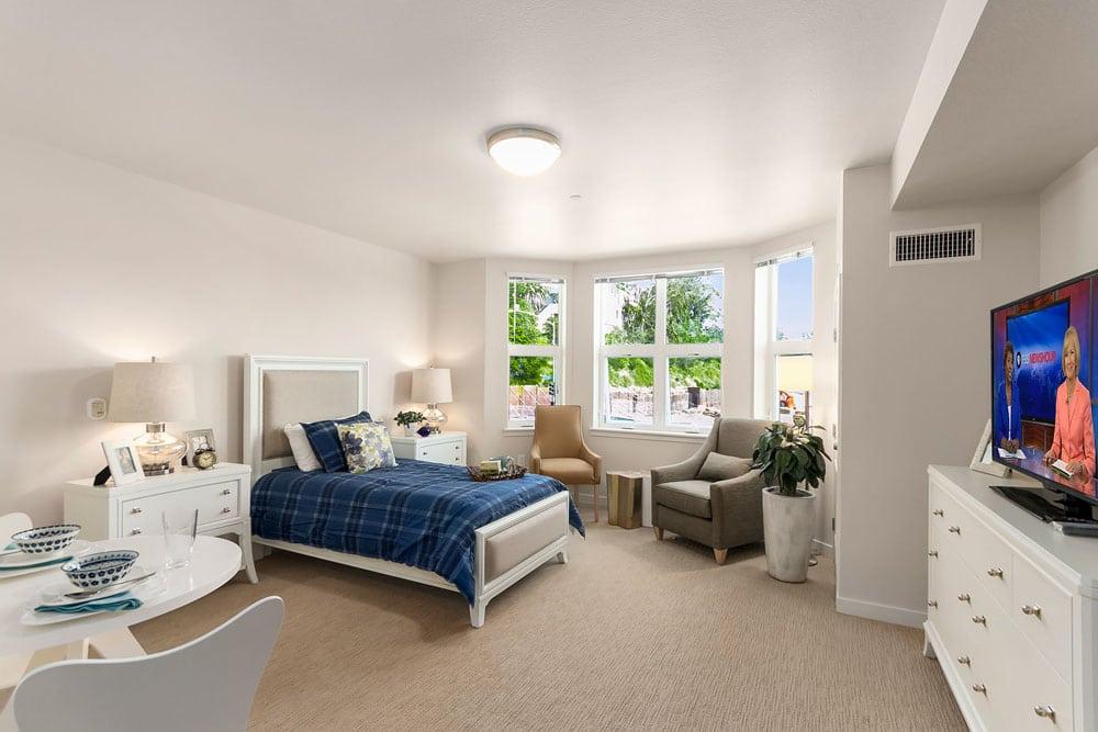 Private Bedroom at Merrill Gardens at Rockridge in Oakland, California.