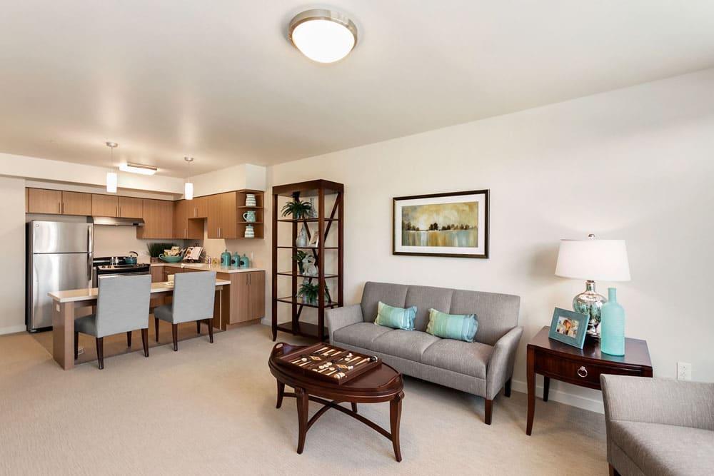 Living room and kitchen at Merrill Gardens at Rockridge in Oakland, California.