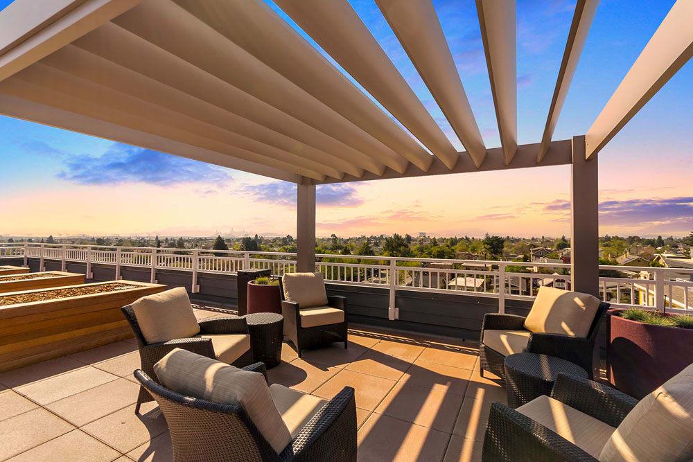 Rooftop Lounge at Merrill Gardens at Rockridge in Oakland, California.