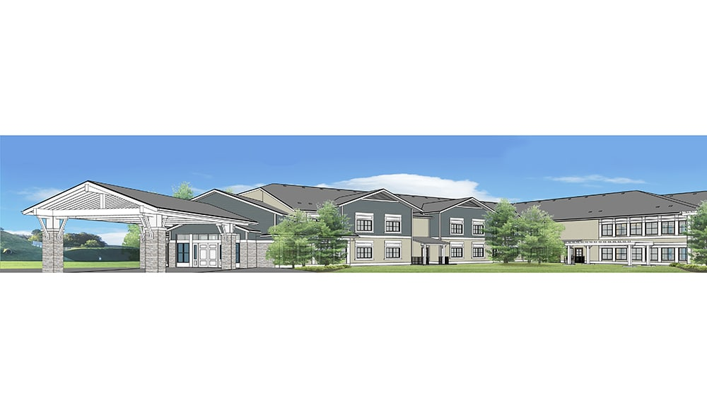 Rendering of the front of Mukilteo Memory Care