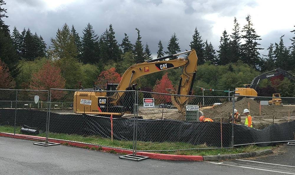 Construction progress at Mukilteo Memory Care's dig site