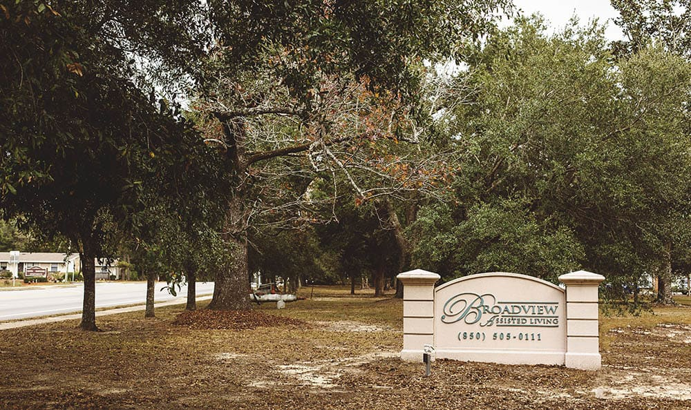exterior signage at Broadview Assisted Living at Pensacola