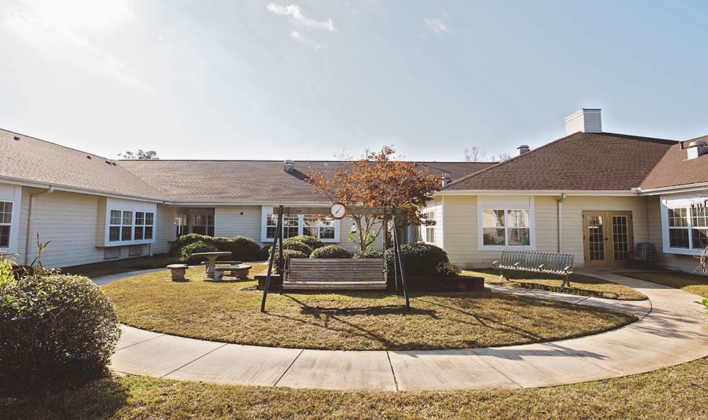 out-door walk way at senior living in Pensacola FL