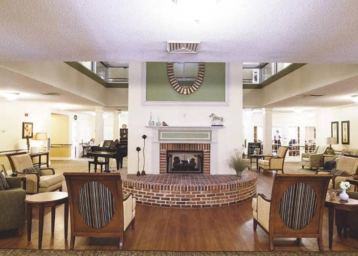 fireplace at the heart of Broadview Assisted Living at Tallahassee