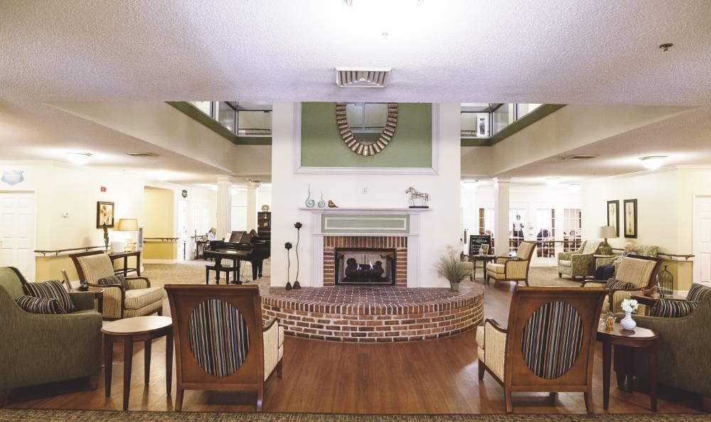 Gorgeous living room where you can enjoy your retirement at Broadview Assisted Living at Tallahassee
