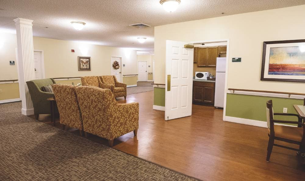 Well organized kitchen in our floor plans at Broadview Assisted Living at Tallahassee in Tallahassee