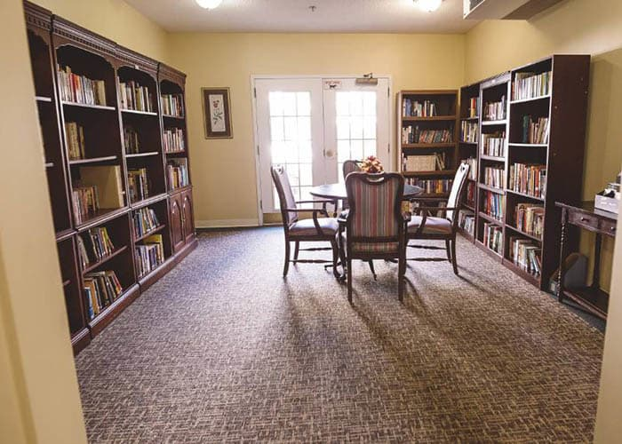 resident library at Broadview Assisted Living at Tallahassee