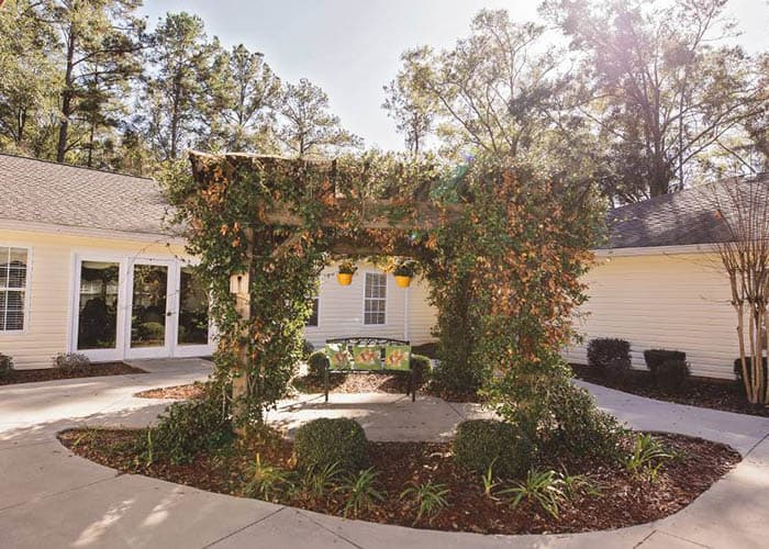 community courtyard at Tallahassee Memory Care