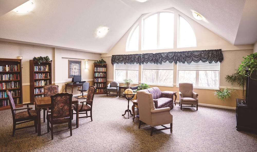 Spacious living room at Broadmore Senior Living at Lakemont Farms in Bridgeville, PA