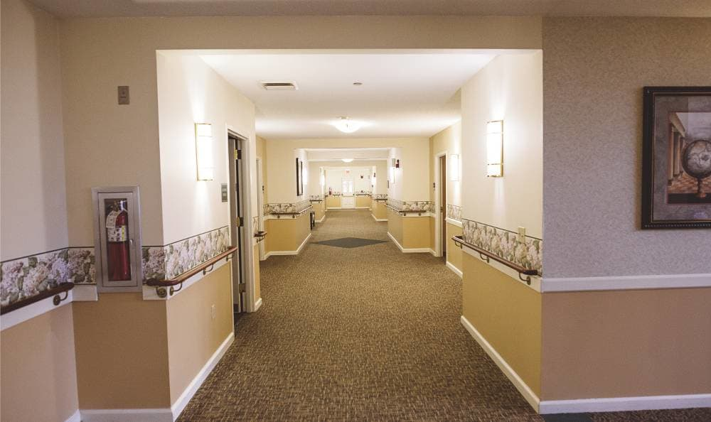 Hallway through the installations of Broadmore Senior Living at Lakemont Farms