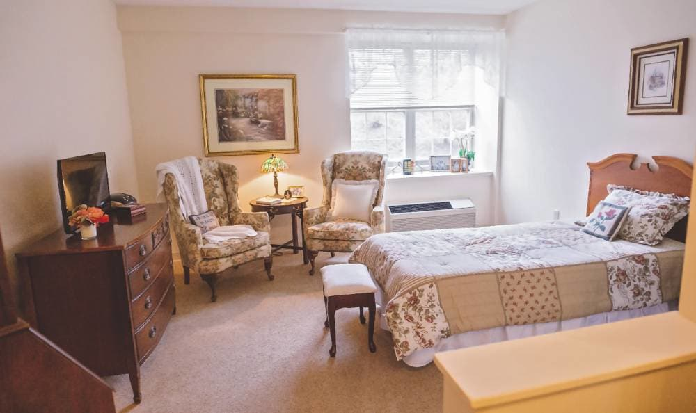 bedroom with wonderful view at Broadmore Senior Living at Lakemont Farms in Bridgeville, PA