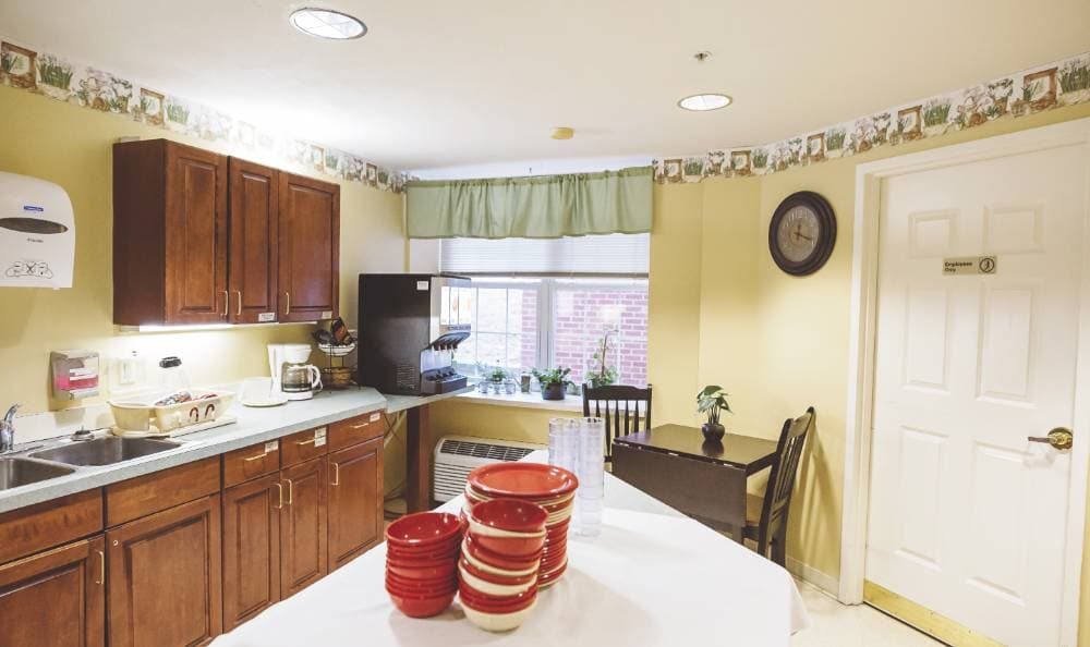 Well organized kitchen in our floor plans at Broadmore Senior Living at Lakemont Farms in Bridgeville