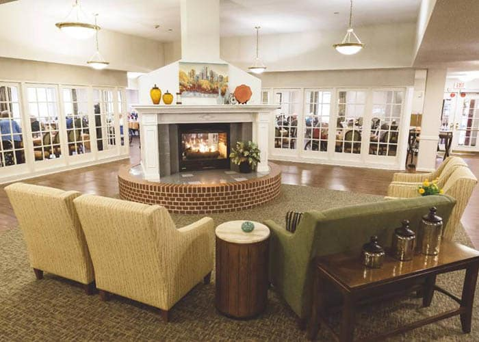 Fireplace at Broadmore Senior Living at Lakemont Farms