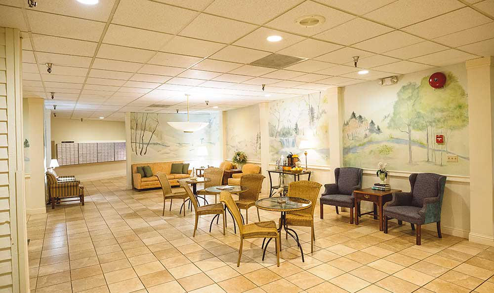 Common area to meeting with friends at The Village Senior Living