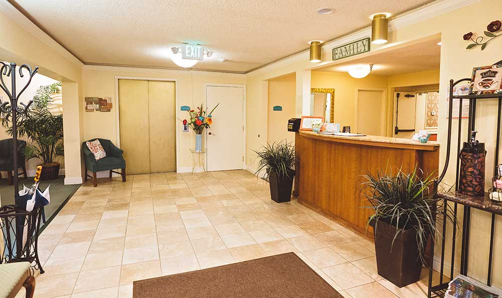 Lobby entrance at The Village Senior Living in Tacoma, WA
