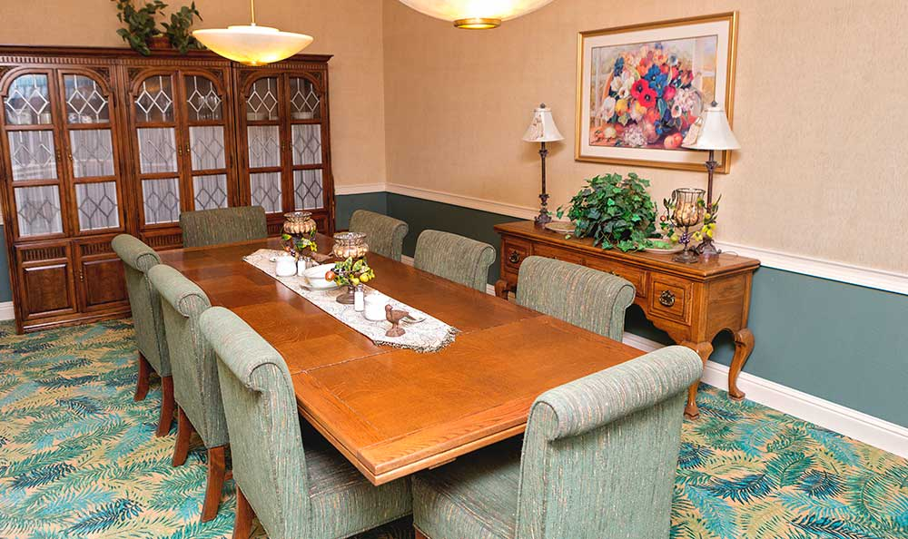 Private dining room at The Village Senior Living in Tacoma, WA