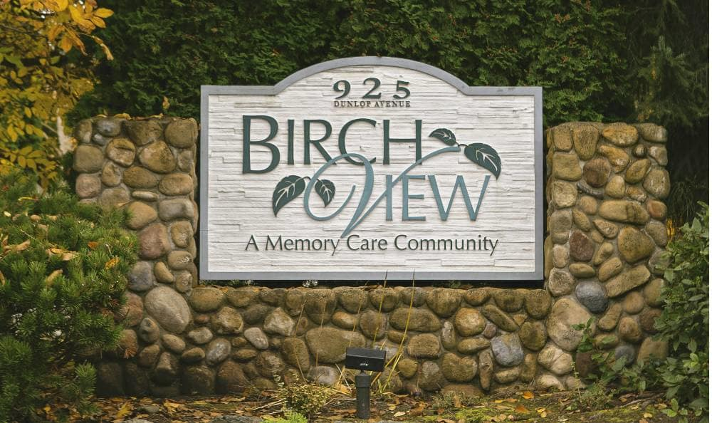 Entrance sign at Birchview Memory Care in Sedro-Woolley,WA