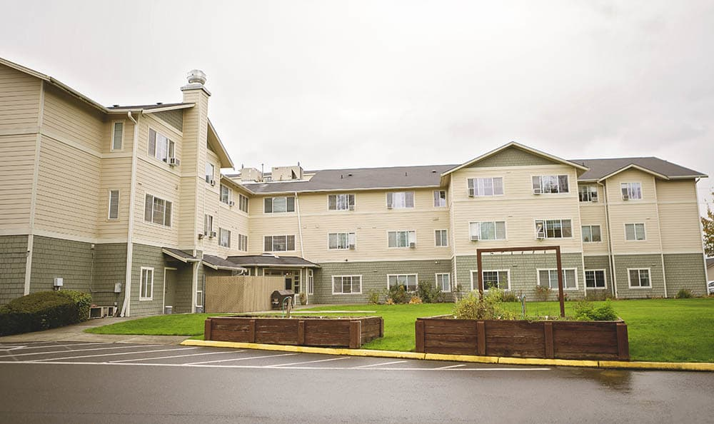 Sunny courtyards at King's Manor Senior Living Community