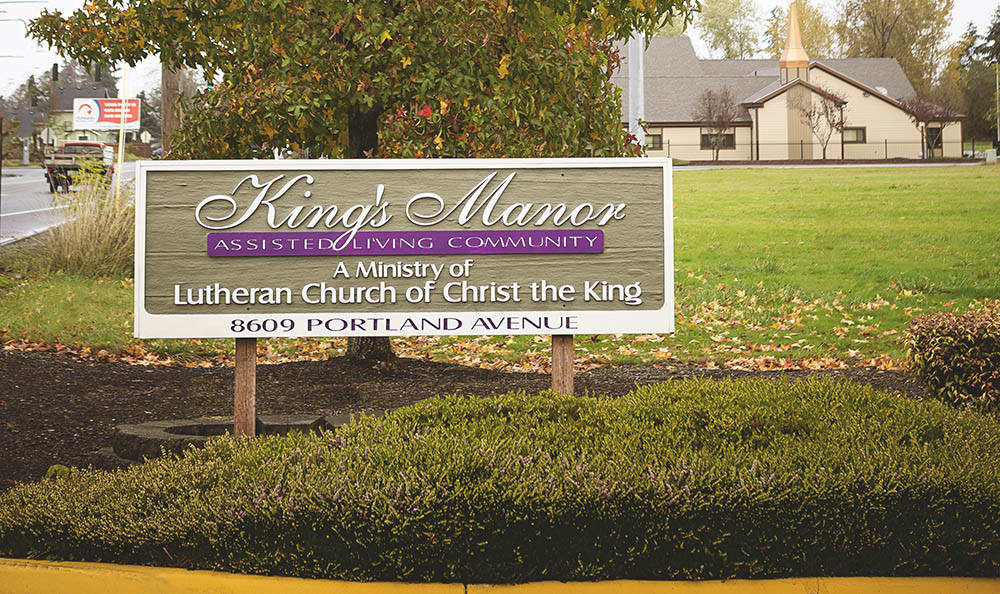 Main sign of King's Manor Senior Living Community