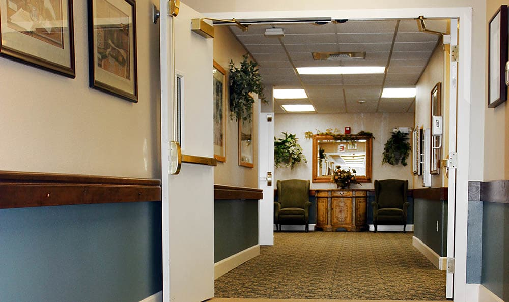 Hallway inside King's Manor Senior Living Community